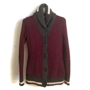 Roots Canada Cardigan burgundy wool shawl collar sz S